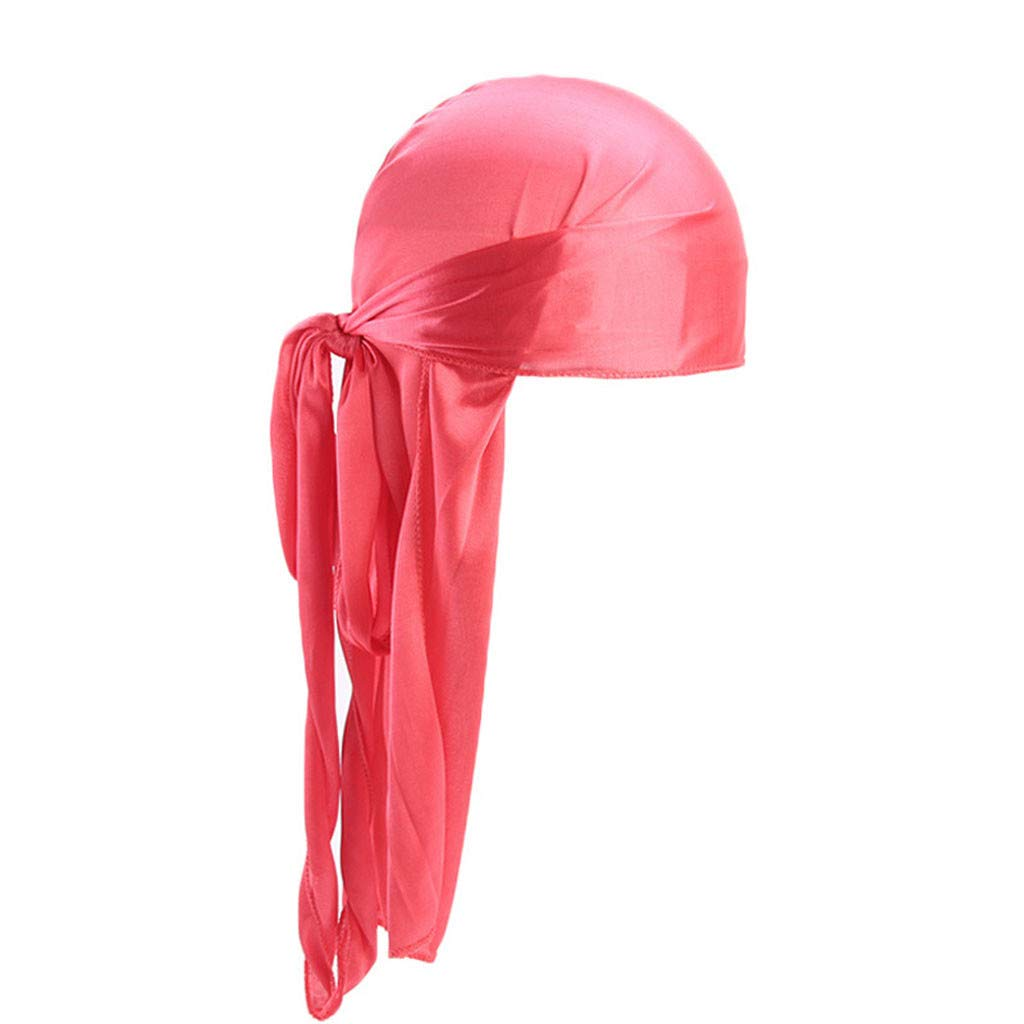Unisex Silk Durag Headwraps Sweat Wicking Beanie Turbans Extra Long Tail Wide Straps African Headwear (Watermelon Red)