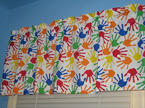 Handmade Colorful Handprints 100% Cotton Back to School Window Curtain Valance -