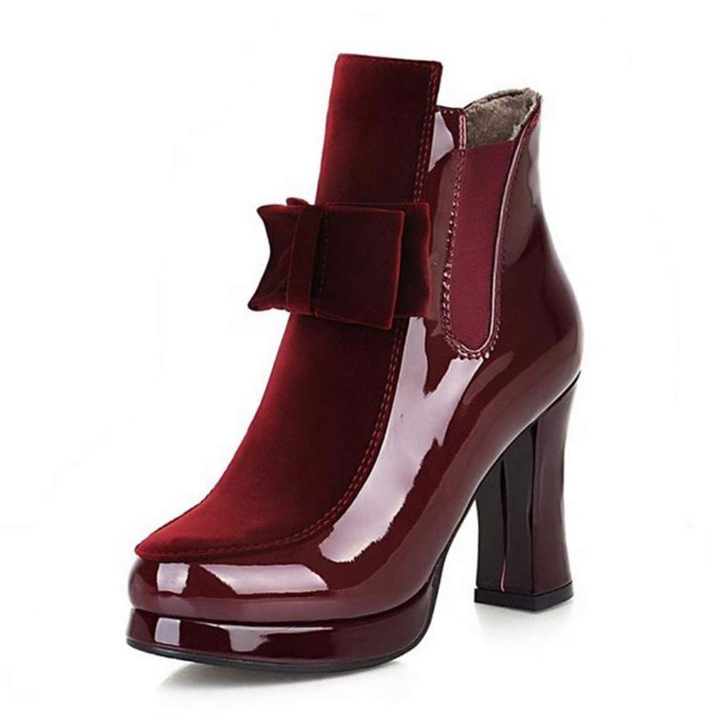 Wine Red Gcanwea Women Patent Leather High Heel Mid Calf Boots Platform Sexy Bowtie Warm Winter Boot Footwear shoes Size 34-43 Joker Sexy Rubber Sole No Grinding Feet Dexterous Dress Red 4 M US Boots