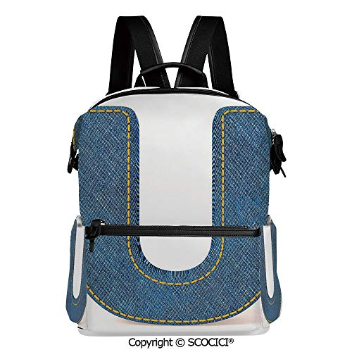 (SCOCICI All Over Printed Girl's/Boy's Backpack,Denim Letter Alphabet Design with Realistic Looking Fabric Texture Stitches Image Decorative,L11.4xW6.3xH15 Inches)