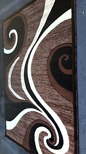 (Americana Modern Area Rug Brown Abstract Swirl Design 144 (6 Feet X 9 Feet))