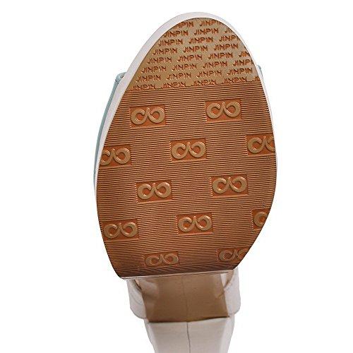 AllhqFashion Damen Blend-Materialien schnüren Offener Zehe Gemischte Farbe Sandalen Blau