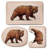 3 Piece Bath Mat Rug Set,Bear,Bathroom Non-Slip Floor Mat,Ink-Drawing-Style-Wildlife-Beast-Carnivore-Figure-Walking-Zoology-Nature-Themed-Art-Decorative,Pedestal Rug + Lid Toilet Cover + Bath Mat,Brow