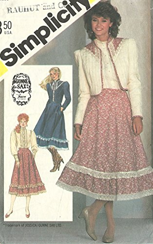 Simplicity vintage 1980s sewing pattern 5491 Gunne Sax Country Western outfit - Size 10 -