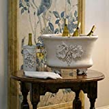 "21"" Old World Tuscany Style Handcrafted Distressed White Decorative Grape Oval Tub with Feet"