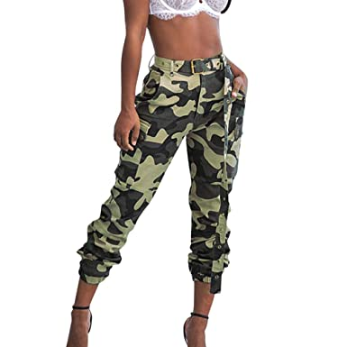 super popolare 53924 45ab4 Moda Pantaloni Larghi a Matita Donna Pantaloni Mimetici A Wita Media con  Cintura Comodi Pantaloni Casuale Pantaloni Leggings a Piedi Stretti Cinque  ...