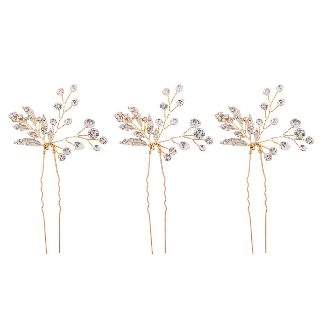 Fenteer Women's Gold Plated Rhinestones Floral Hair Pins Jewelry