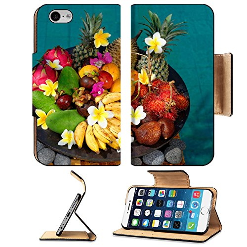Luxlady Premium Apple iPhone 6 iPhone 6S Flip Pu Leather Wallet Case IMAGE ID: 24976470 Tropical exotic fruits Basket with exotic fruits from Bali Indonesia by the swimming pool