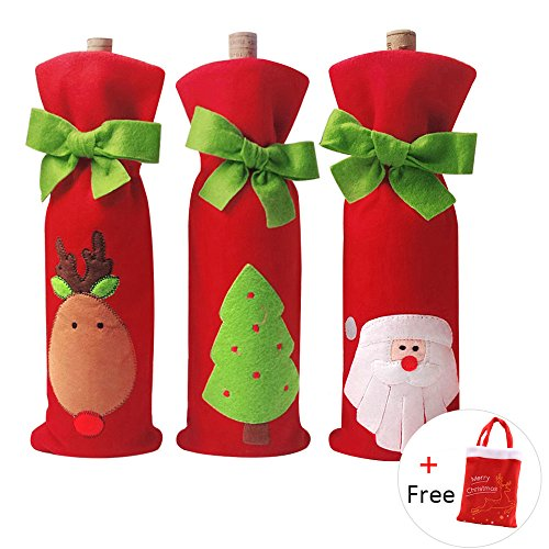 4 PCS Christmas Gift Bags Santa Reindeer Christmas Tree Wine Bottle Covers for Dress up Wine Bottle, Party Decorations with a Merry Christmas Gift Bags , Xmas Ornaments