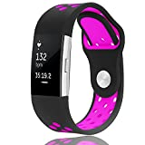Band for Fitbit Charge 2 - Akaru Silicone Sport Soft Breathable Adjustable Fashion Replacement Strap Bands for Fitbit Charge 2 Smartwatch Heart Rate Fitness Wristband with hole