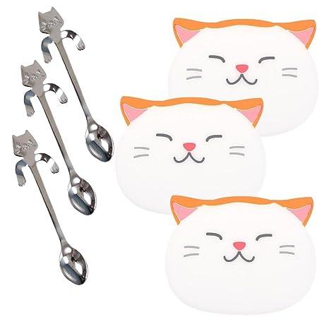 Cuchara de café 3 pcs Mini gato Abrazando Kitty Cuchara sopa de té, azúcar de