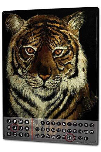 - onepicebest 8x12 Perpetual Calendar Nursery Krakowski Tiger Portrait Tin Metal Magnetic