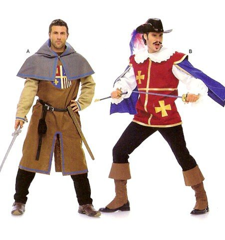 Euro Co Costumes (Burda 7976 Mens Pattern Musketeer, Page, Castle Knight Costume Size 38 - 50 (Euro 48 to 60))