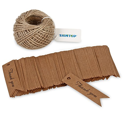 Shintop Thank You Tags - 100PCS Kraft Paper Gift Tags Bonbonniere Favor Wedding Hang Tags with Free 100 Feet Natural Jute Twine (Brown) ()