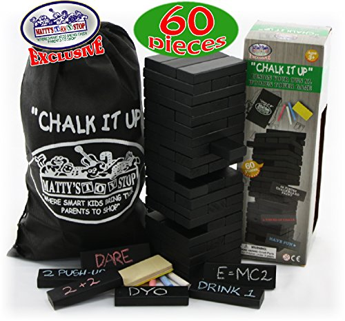 Chalk It Up Design Your Own 60pc XL Wooden Tower Deluxe Stacking Game (Game Stacking)