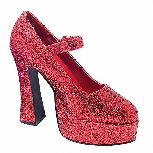 Ellie 557-eden-g Kvinna Sexiga Bekväm 5 Tjock Hälen Glitter Mary Jane Röd Glitter
