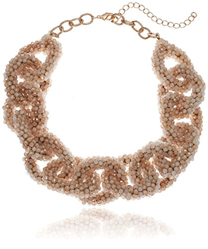 Panacea Ivory Crystal Link Statement Collar Necklace, 17 (Necklace Ivory Womens)