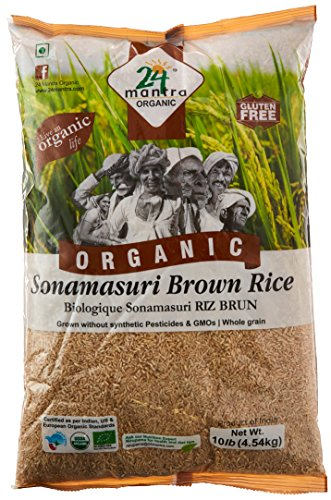 Organic Brown Sonamasoori Rice - 10 Lbs by 24 Letter Mantra
