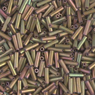 Miyuki Bugle Beads 6mm Matte Metallic Khaki Iris 8.5 grams BGL2-2035 ()
