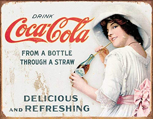Large Coke Coca Cola Bottle & Straw Vintage Retro Metal Tin Wall Plaque Sign Metal Sign 12X18 Inch