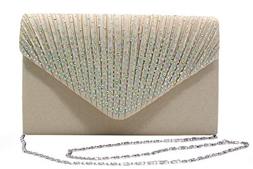 Outrip Women's Evening Bag Clutch Purse Glitter Party Wedding Handbag with Chain (B Apricot)