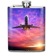 JIUHUBX Airplanes Taking Off Stainless Steel Liquor Flagon Retro Pocket Flask\Stainless Steel Travel Flask Great Little Gift,Safe And Nontoxic