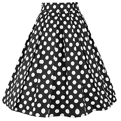 Sharemen Women's Vintage A-line Printed Pleated Flared Midi Skirts(White,XL)