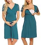 MAXMODA Womens Delivery//Nursing/Labor/Maternity Nightgown Pregnancy Gown V Neck Sleep Dress