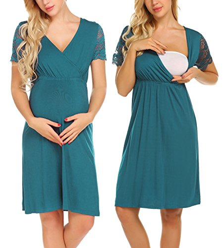Ekouaer Women's Maternity/delivery/Labor/Nursing Sleepwear Short Sleeve Nightgown Soft Pajama Teal