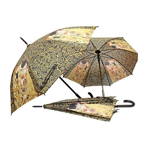 CARMANI - Paraguas de paraguas manual de cierre abierto impreso con Gustav Klimt El b