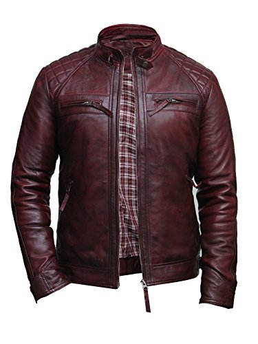 (Brandslock Mens Casual Burgundy Leather Biker Racing Jacket Lamb Nappa Leather Biker Jacket (L, Burgundy) )