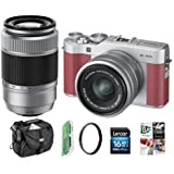 Fujifilm X-A5 24.2MP Mirrorless Camera XC 15-45mm f/3.5-5.6 OIS PZ Lens, Pink - Bundle 50-230mm F4.5-6.7 OIS II Lens Silver, Camera Case, 16GB SDHC Card, 58mm UV Filter, Software Pack, More