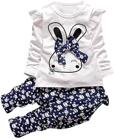 1f974d571 G-real Rabbit Outfits, Toddler Kids Little Girls Cute Cartoon Bunny Bow  Applique T