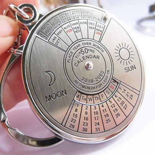 Desk Set New Fashion Personalized 50 Years Perpetual Calendar Keyring Keychain Silver Alloy Key Chain Ring Keyfob Desk Accessories & Organizer