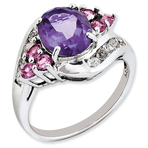 - 925 Sterling Silver Purple Amethyst Pink Tourmaline White Topaz Band Ring Size 7.00 Gemstone Fine Jewelry Gifts For Women For Her