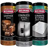 Weiman Wipes Variety [3 Pack] - Stainless Steel, Leather, and Granite Non Toxic Wipes - 90 Wipes