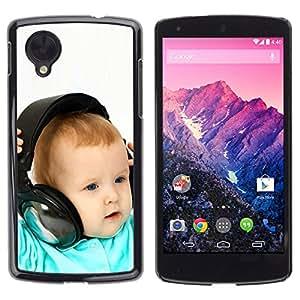 LG Google NEXUS 5 / E980 /D820 / D821 , Radio-Star - Cáscara Funda Case Caso De Plástico (Baby & Headphones)