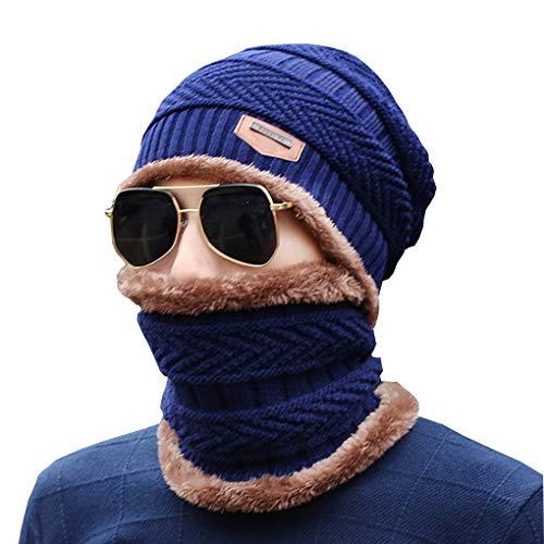 Tour Pour Et Bonnet Bleu Cou En De L'hiver Tricotée Chaud Marine Homme Acmede Hiver Écharpe wPXxSRPtq