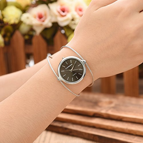 Top Plaza Womens Fashion Casual Silver Tone Analog Quartz Bangle Cuff Bracelet Wrist Watch, Unique Elegant Thin Metal Band Big Face Watches for Small Wrist(Black Dial) by Top Plaza (Image #3)