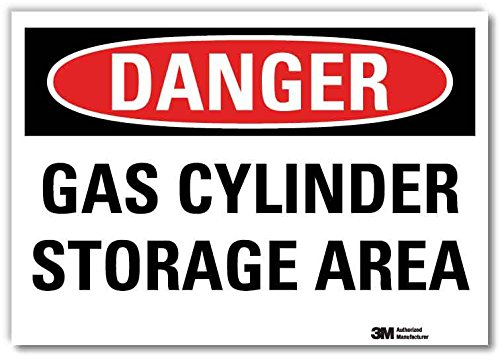 SmartSign by Lyle U3-1528-RD_7X5 DANGER GAS CYLINDER STORAGE AREA Reflective Self-Adhesive Decal, 7