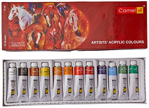 Camel Acrylic Color Box - 9Ml Tubes, 12 Shades by Camel