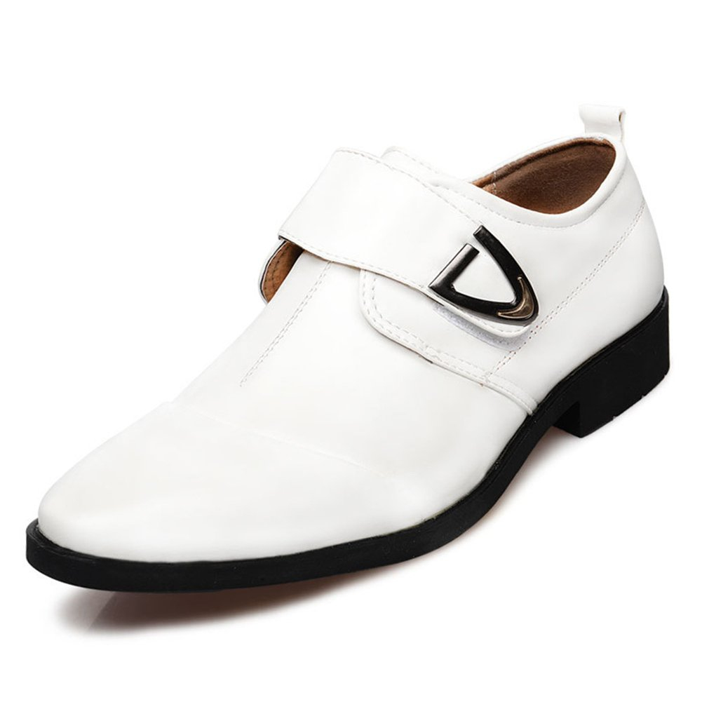 Seakee Men's Formal Business Oxford Velcro-Straps Dress Shoes(White) US 8.5