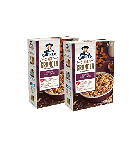 Quaker Simply Granola, Oats, Honey, Raisins and Almonds, 28 oz Boxes, 2 Count