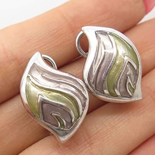 Signed 925 Sterling Silver Enamel Modernist Earrings - Enamel Earrings Signed