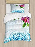 Lunarable Floral Duvet Cover Set Twin Size, Natural Inspired Relaxation Orchid Petals Down on Water Spa Meditation Zen Concept, Decorative 2 Piece Bedding Set with 1 Pillow Sham, Multicolor
