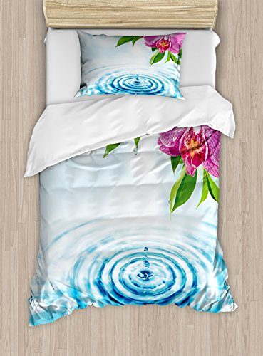 Lunarable Floral Duvet Cover Set Twin Size, Natural Inspired Relaxation Orchid Petals Down on Water Spa Meditation Zen Concept, Decorative 2 Piece Bedding Set with 1 Pillow Sham, Multicolor by Lunarable