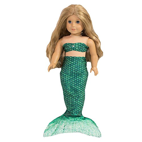 Fin Fun Mermaid Tail Outfit for 18 Inch Doll like American Girl - Brynn's Celtic Green