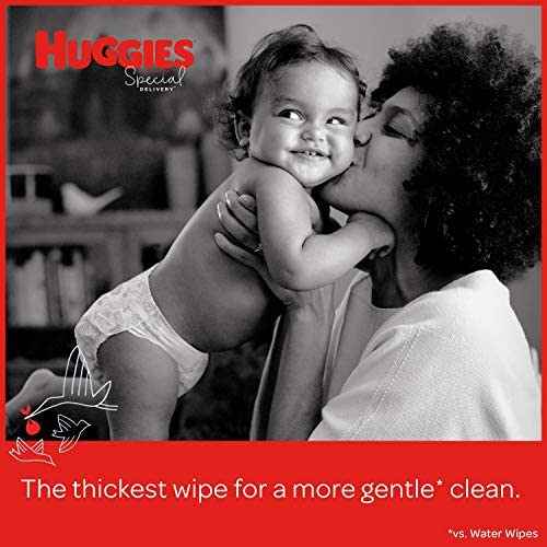 51AoX28bV L. AC - Huggies Special Delivery Hypoallergenic Baby Wipes, Unscented, 3 Flip-Top Packs (168 Wipes Total)