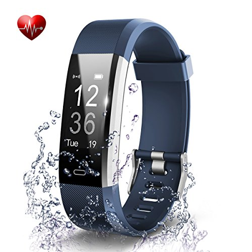 Fitness Tracker- Waterproof Activity Tracker Heart Rate Monitors Sleep Tracking Wireless Bluetooth Activity Tracker Smart Bracelet Pedometer Fitness Sports Wristbands (blue)
