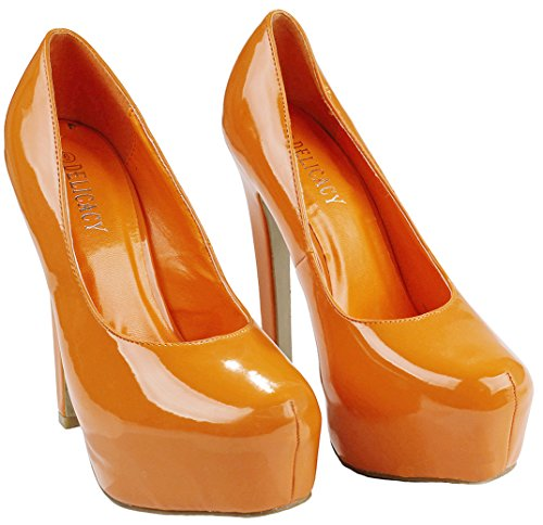 Vrouwen Snoep Kleur Lak Pu Platform Stiletto Hoge Hak Pomp Schoenen Oranje